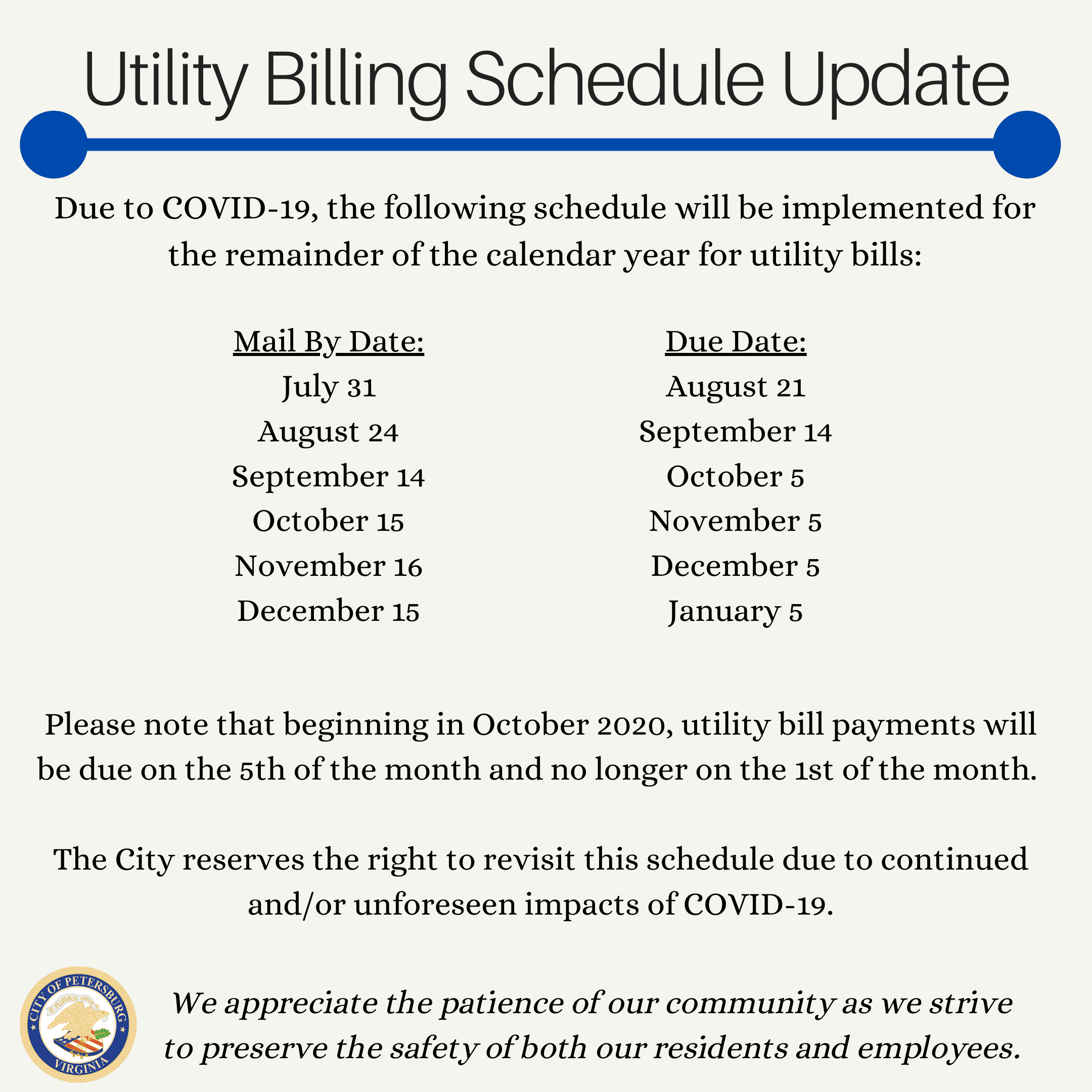 Update on Utility Billing